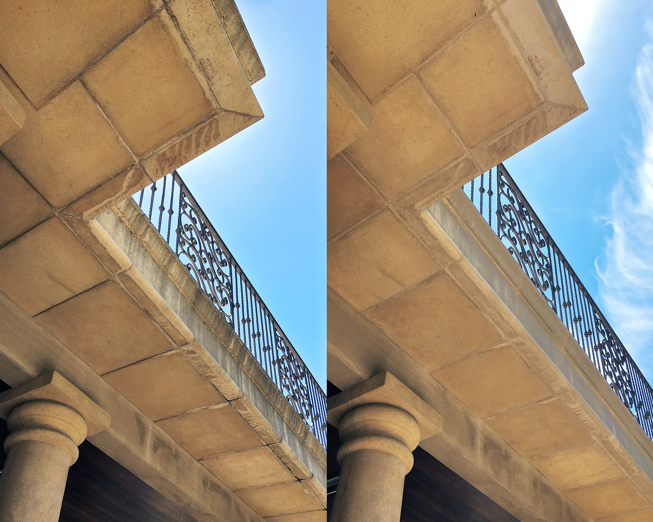 Before (left) and After (right) of failing grout and discolored precast concrete and GFRC cladding material rejuvenated by our restoration package.
