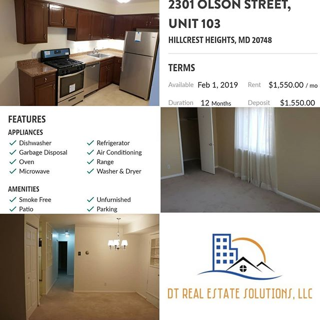 Start the New Year in a New Home 🏠... 2 Bedroom 1 Bathroom Condo for Rent Conveniently Located in Hillcrest Height, MD (Temple Hills). Features New Stainless Steel Appliances,  Washer & Dryer in Unit, Walk-in Closet and Assigned Off-Street Parking. Contact DT Real Estate Solutions, LLC for your rental needs 202-897-4400 or natasha@dtrealestatesolutions.com #rentalproperty #dmvrealestate #moveinready #dcrealestate #mdrealestate #happynewyear