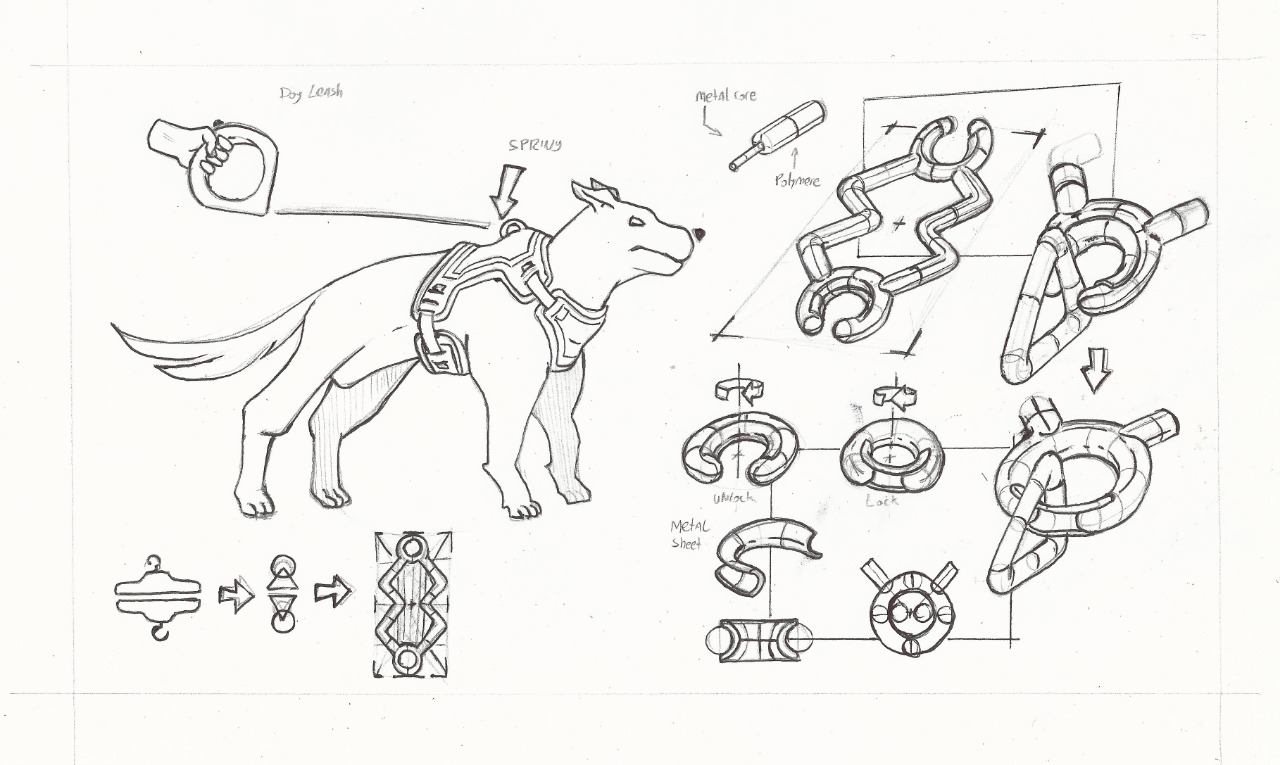 Drafts of CADelier dog leash accessory