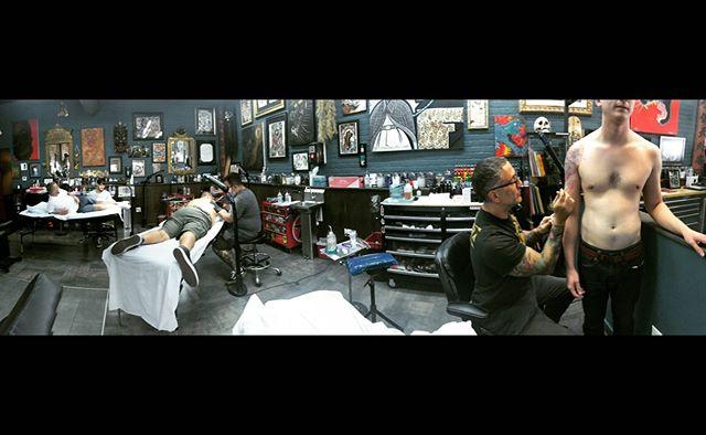 Wednesday Crew. @josecordova @federicoferroni @christambo #southbeach #custom #tattoos #blackandgrey #traditional #japanesetattoo #color #thesolidink #7daysaweek #walkinswelcome #bookingsavailable