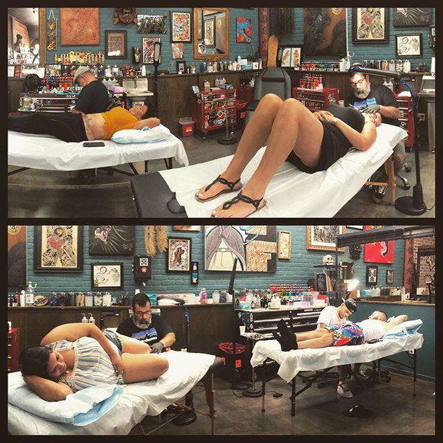 Full House. @josecordova @jamesbrutus @crooksche #seatstaken #fullshop #tattoos #miamiink #lovehatetattoos #miami #southbeach