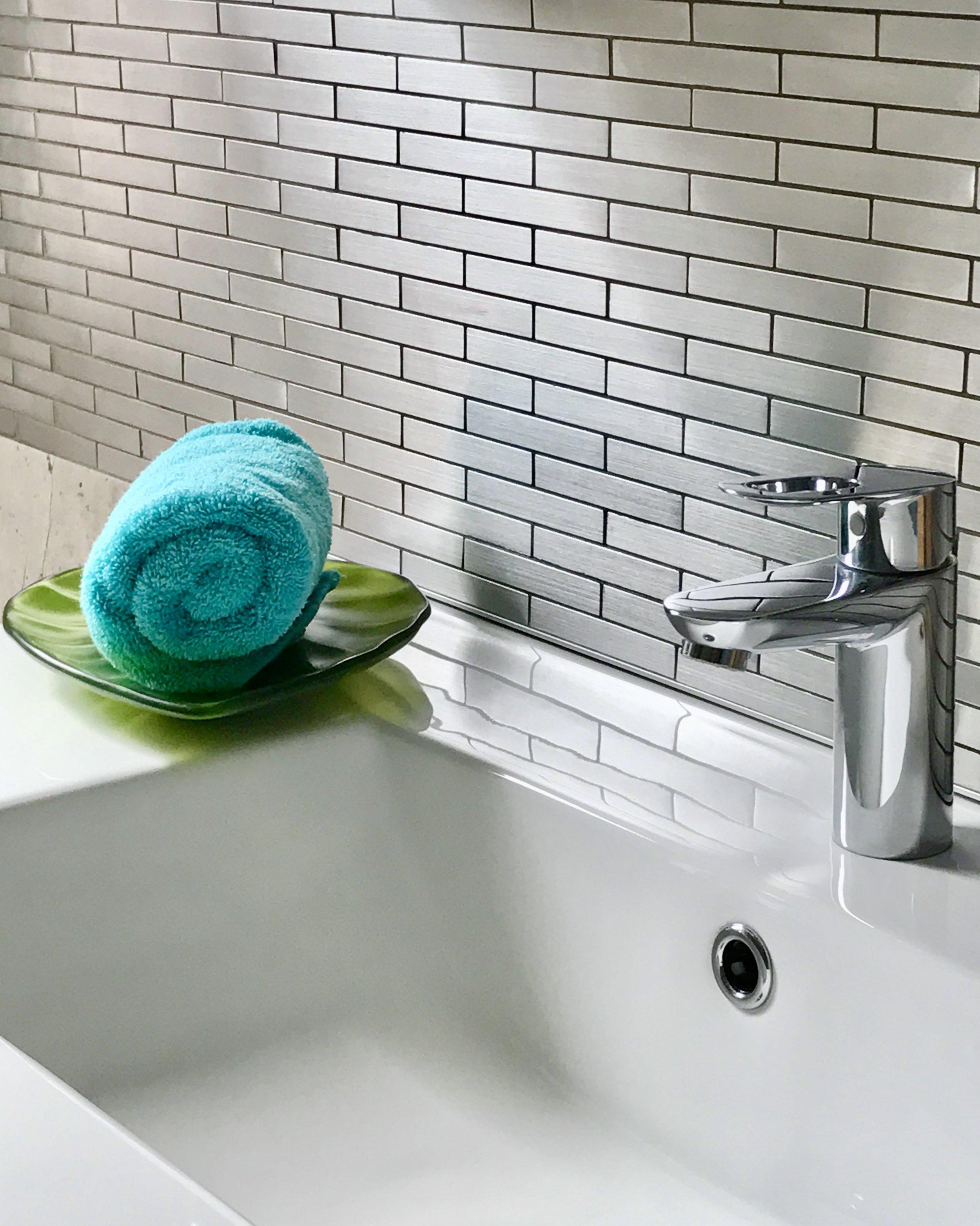 Bathroom Design-Bathroom Faucet-Bathroom Sink-Bathroom Vanity-Stainless Steel-Backsplash-Style Maven Decor Interior Design-Edmonton Canada