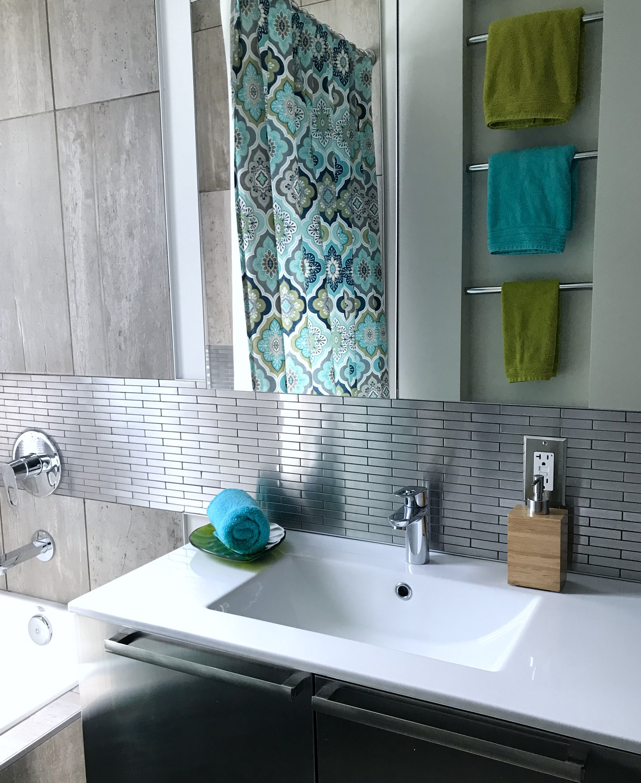 Bathroom Design-Bathroom Renovation-Bathroom Vanity-Stainless Steel-Style Maven Decor Interior Design-Edmonton Canada