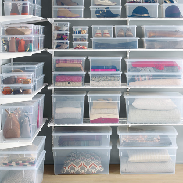 Clear Bins are great for storage because you can see exactly what's in them! Don't forget to add labels too. Placing a list of the contents in each bin is also super handy. -