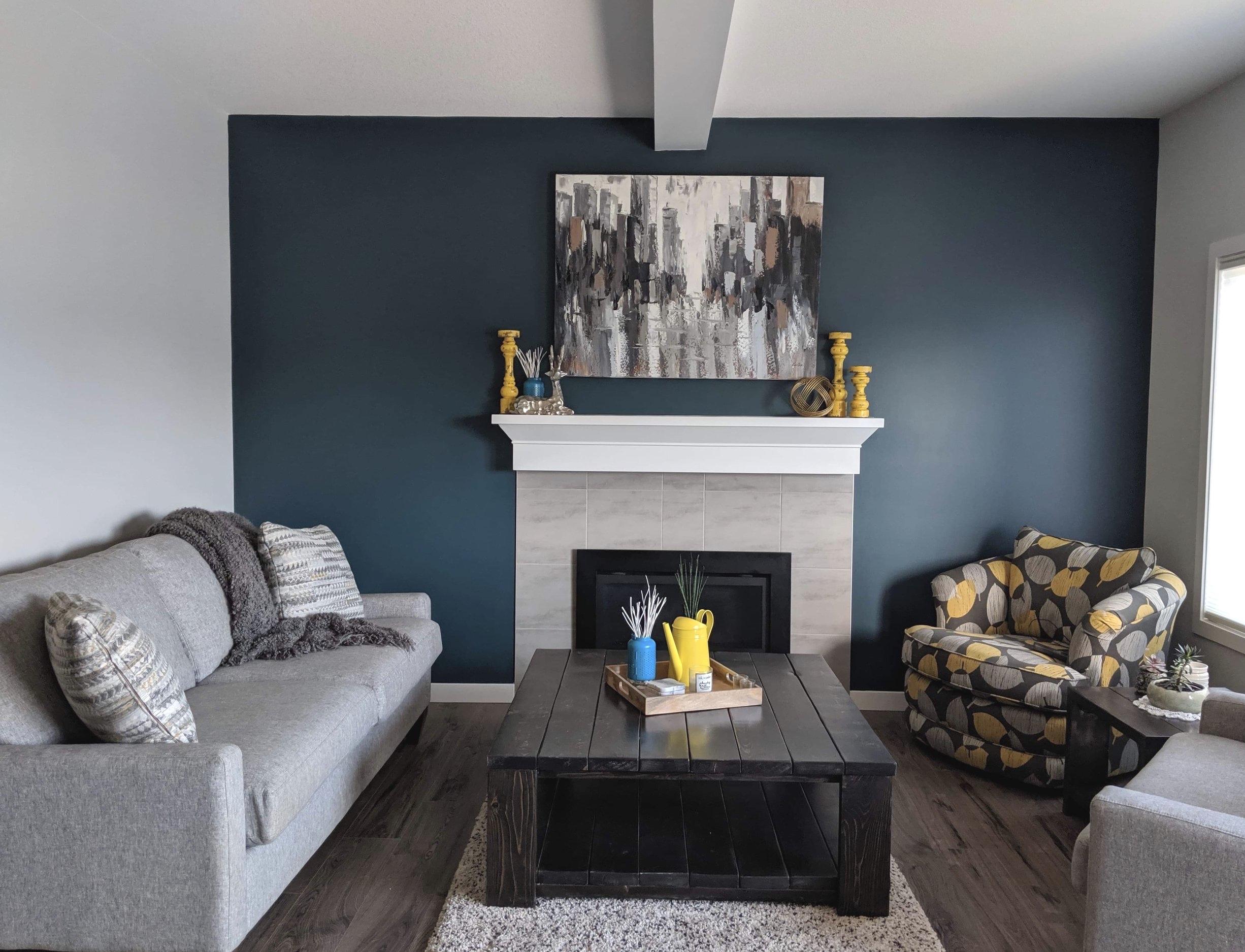 Feature Wall-Living Room Design-Style Maven Decor-Edmonton Canada