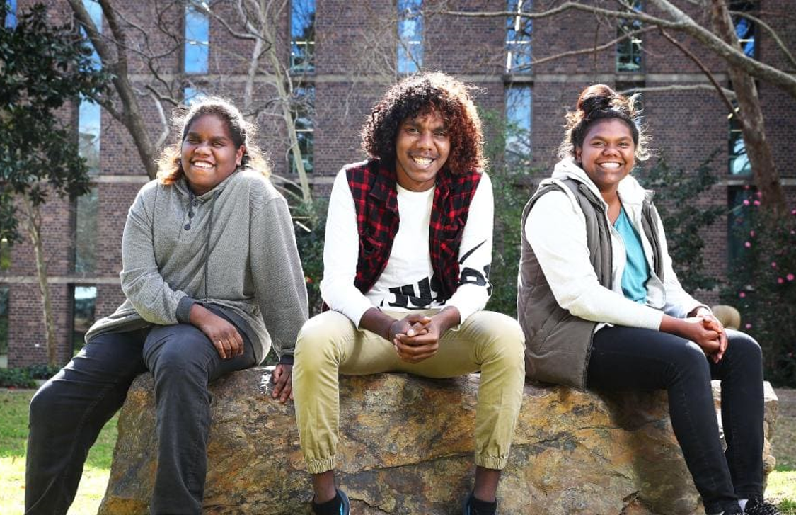 Macquarie University students from Ngukurr: Shania Miller, Ernest Jnr Daniels and Melissa Wurramarrba, 2017. Photo source: The Australian 31/8/2017