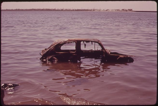 Abandoned Car in Jamaica Bay, June 1973.  Arthur Tress, EPA, National Archives.