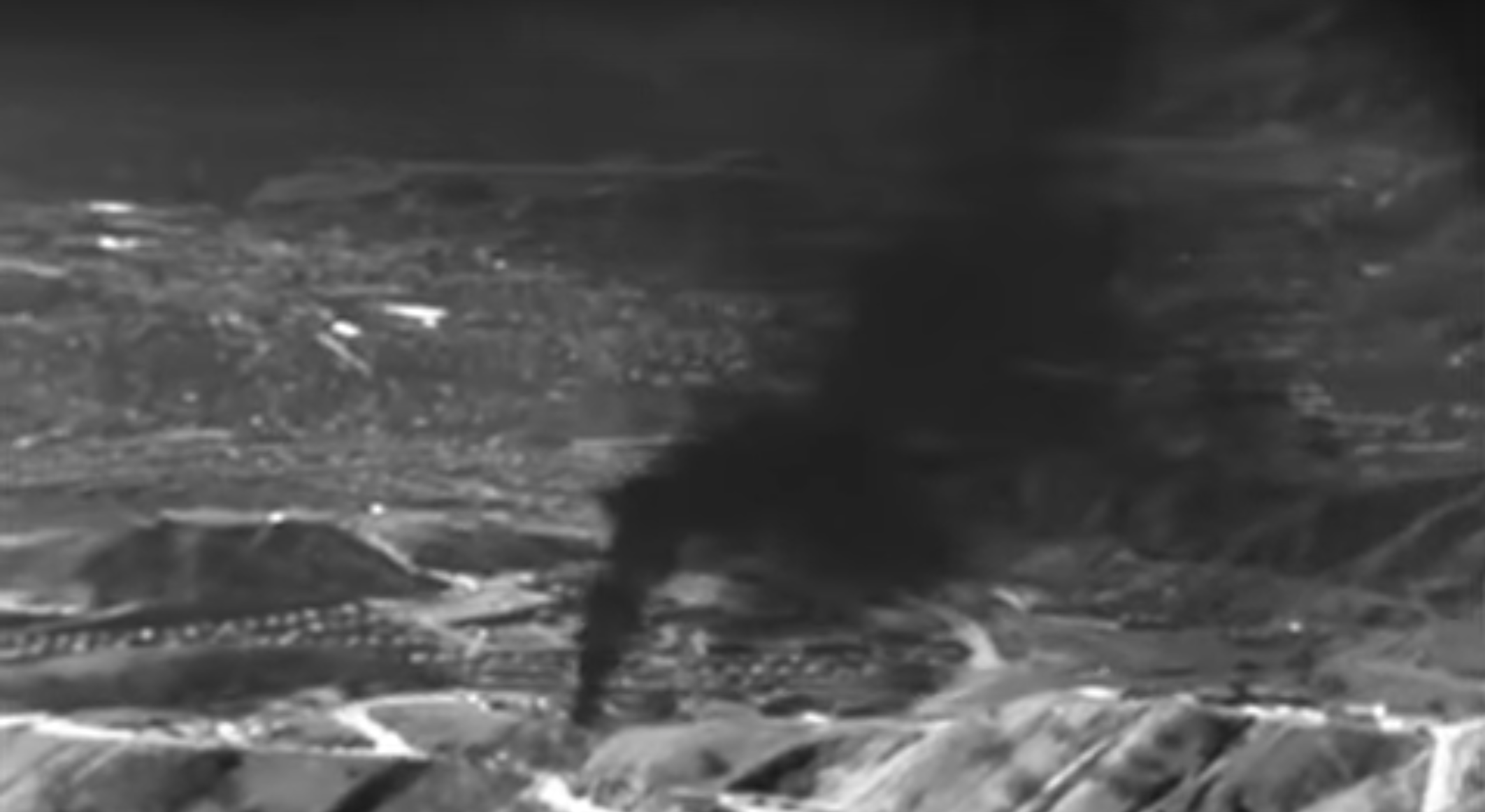 Screengrab from first aerial footage of Aliso Canyon Natural Gas Leak, reposted from  EDF.
