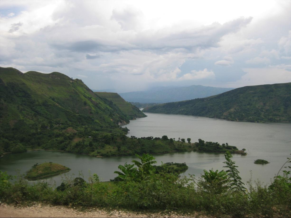 Mountains and dammed lake near Cange, Haiti.