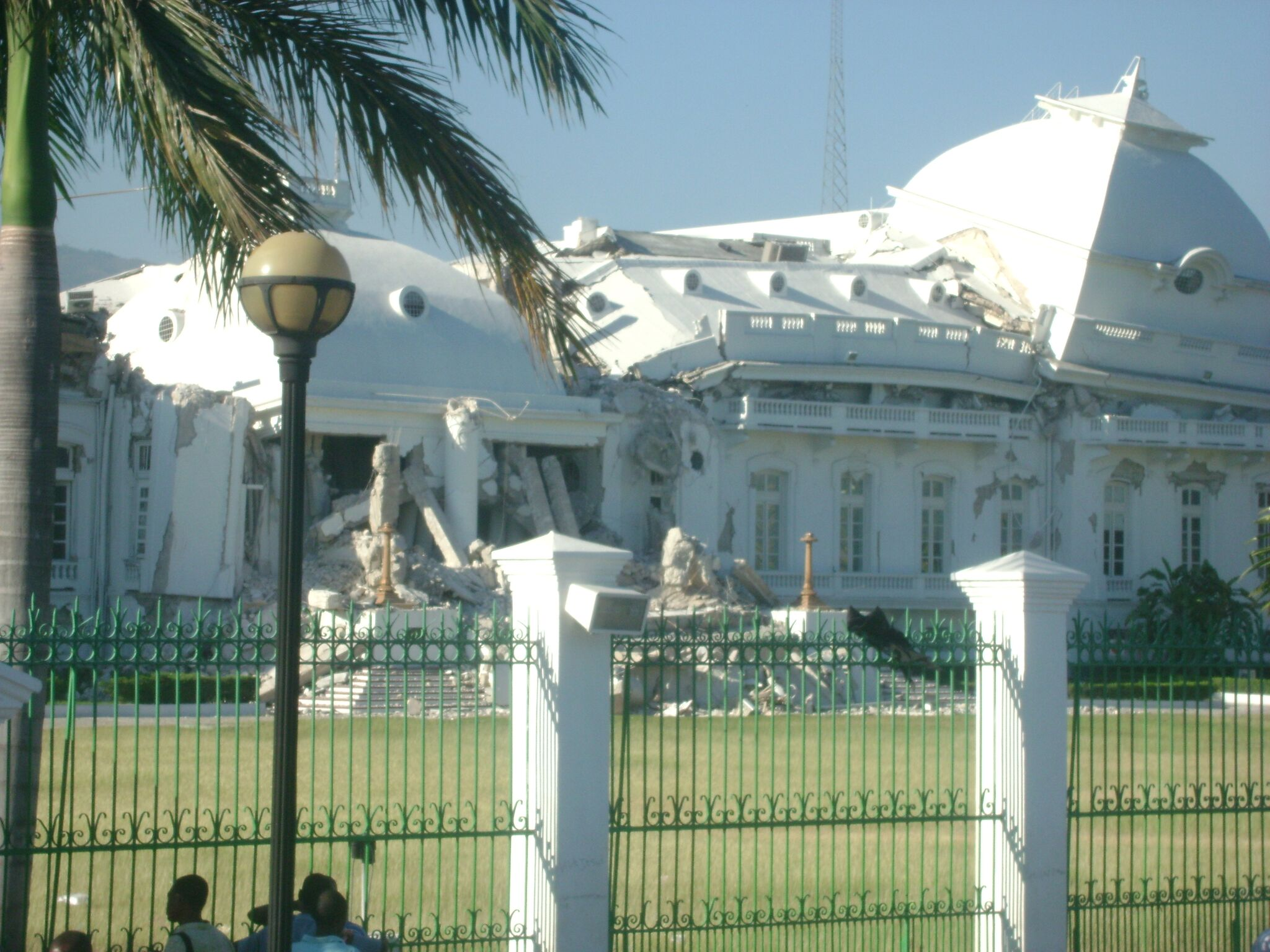 The presidential palace with damage from the quake in Port au Prince, Haiti.