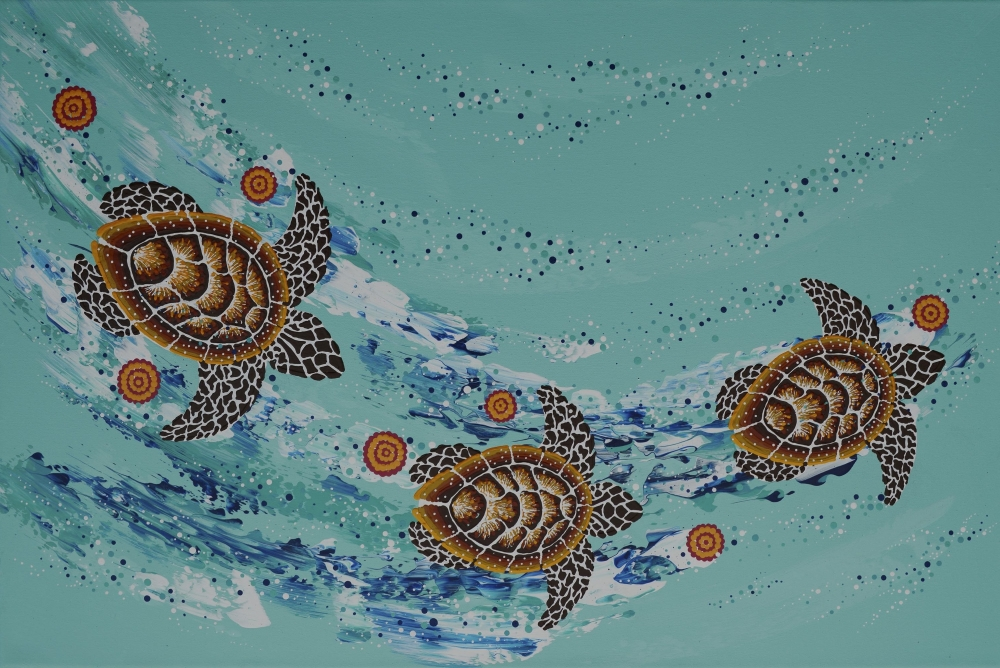 Seven Sister Song Cycle (Teal) 60 x 90cm