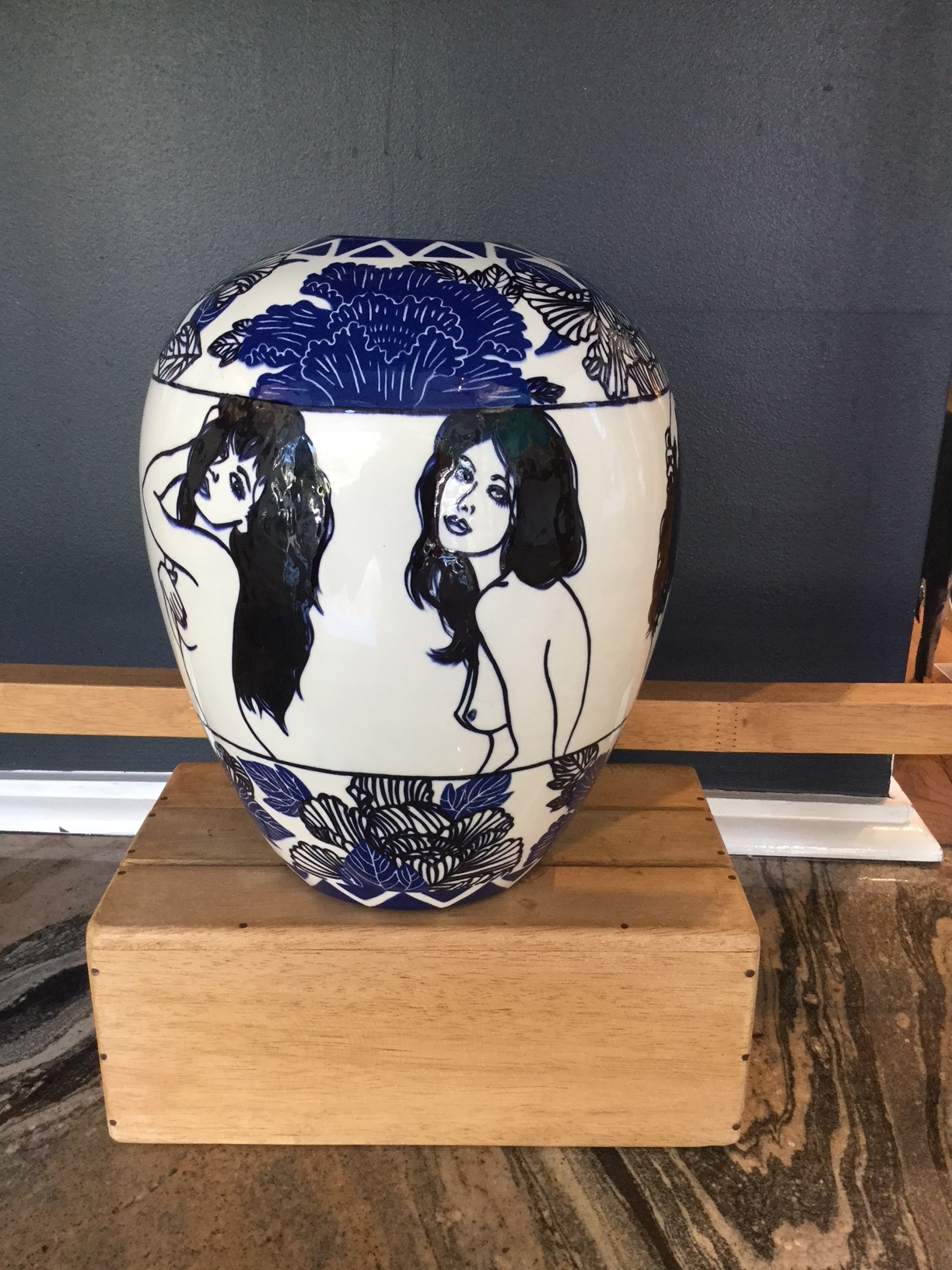 Blue and White Nudes Vase