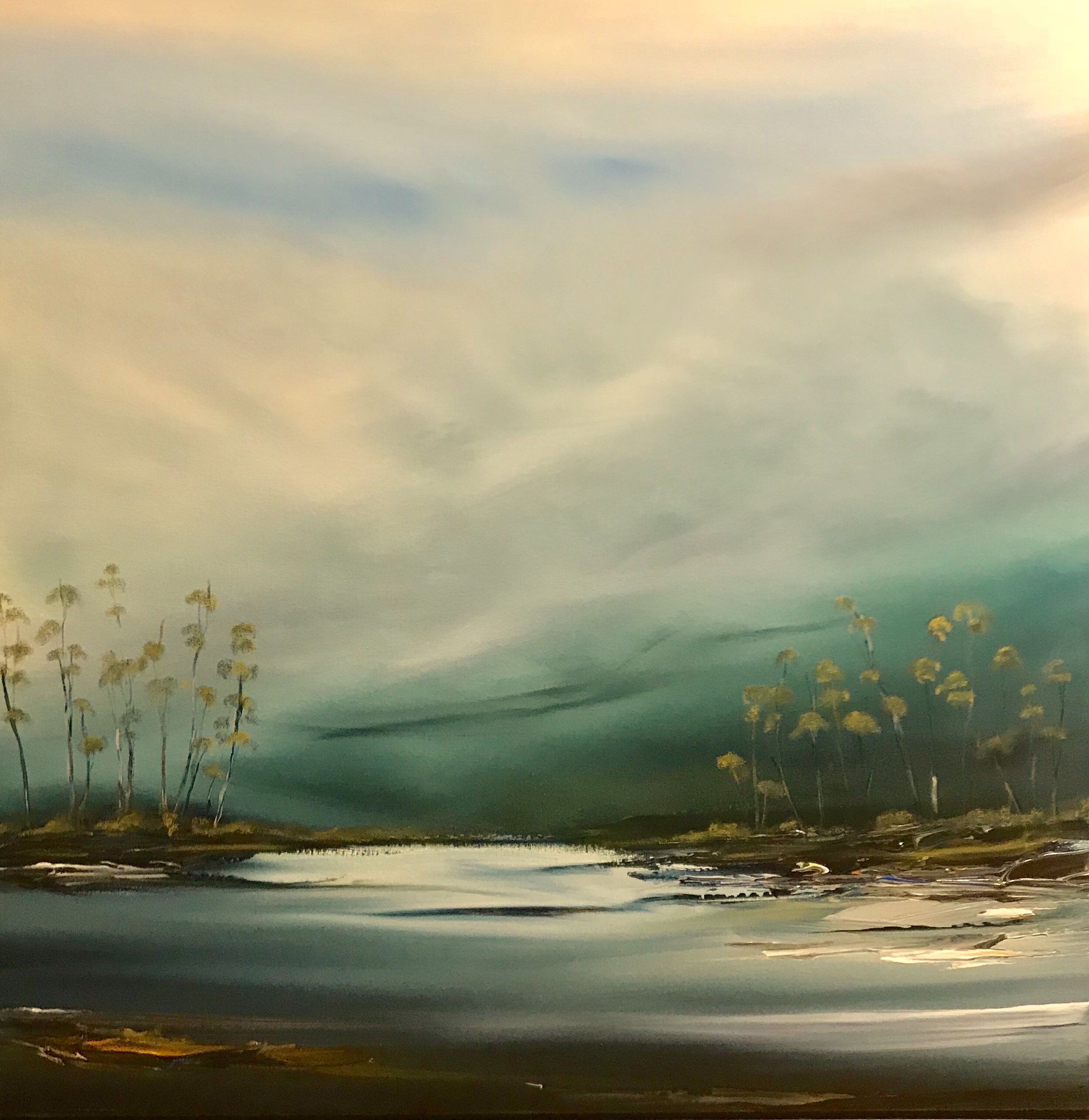 First Light over the Mist - 104x104cm