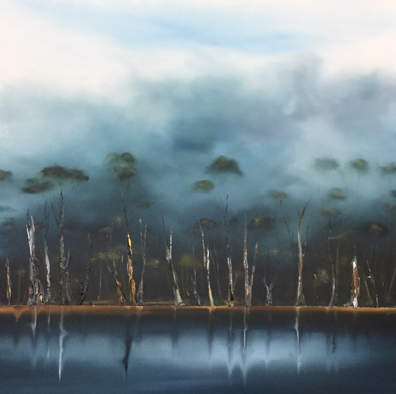 Ghost Gums touch the water 115 x115cm