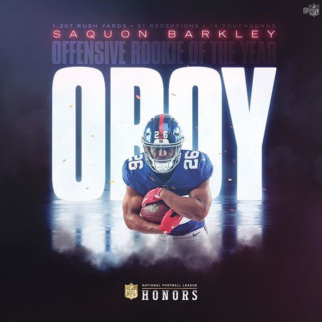 A Giant among Rookies. Congrats To the @giants RB @saquon on winning NFL ROY!!! • • • #nygiants #giants #bigblue #podcast #giants #creative #breakingtackles #football #usa #espn #pr #latino #instafootball #instagames #instagood #sports #nfl #obj #manning #OBJ ##dominican #nyc #newyork #espn #instapodcast #podcasting #podcastone