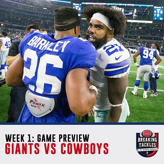 The Breaking Tackles Podcast is back for the 2019 Football season! 🏈🎙 Click the link to hear the highlights and predictions for Game 1: @nygiants versus @dallascowboys ! • • • #nyc #nygiants #bigblue #dallas #dallascowboys #cowboys #football #nfl #latinos #podcast #footballpodcast #fantasyfootball #breakingtackles #newyork #sports #dominicans #ny #giants #saquonbarkley #saquon #elimanning #manning