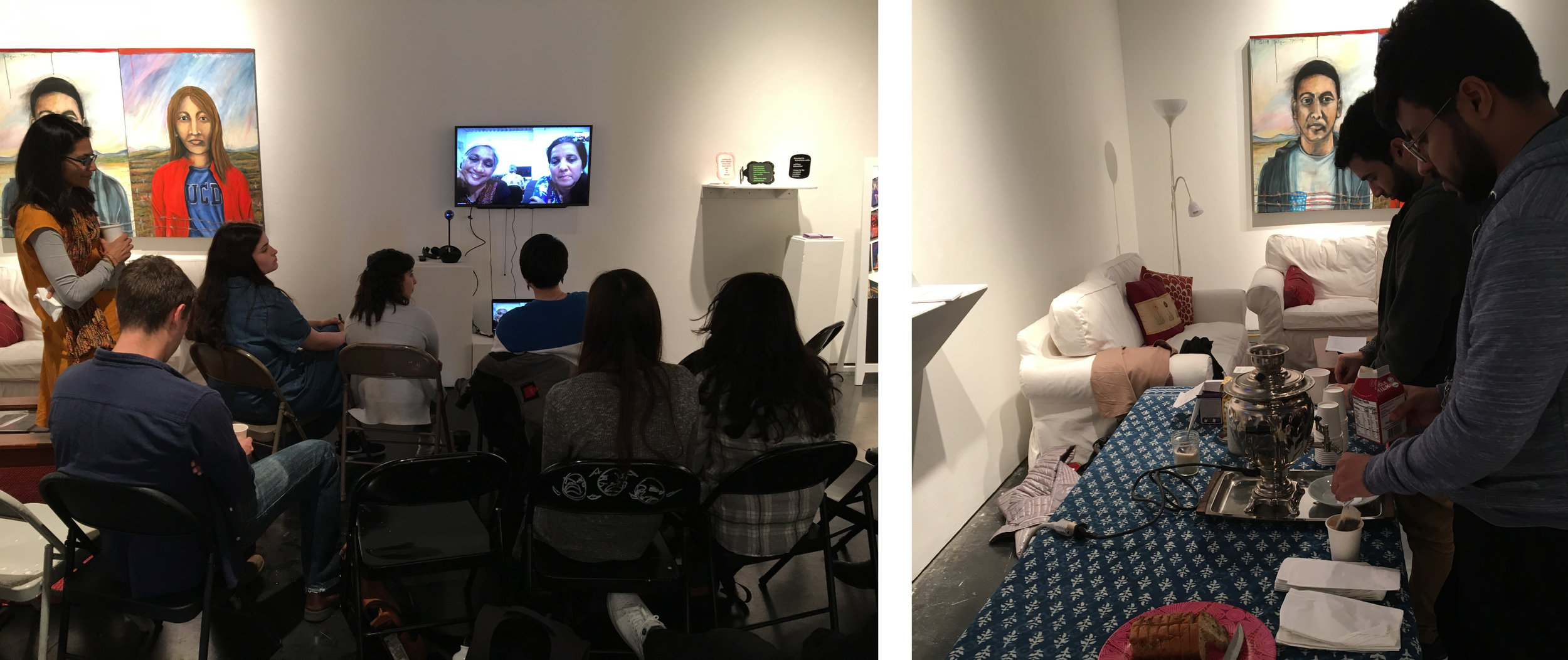 Home: Making Space for Radical Love,  Oliver Gallery, California College of the Arts, 2017  In April 2018, at California College of the Arts, we hosted a conversation and tea as part of the Diversity Studies faculty exhibition and programming,  Home: Making Space for Radical Love , to engage students, faculty and the general public in a collective conversation on the theme of home - something that has lived at the heart of our work since we began our collective.