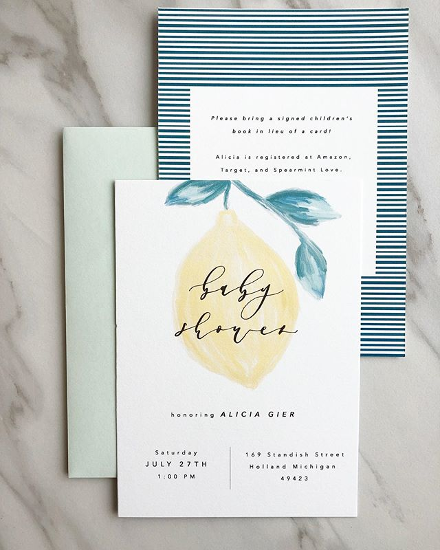 We're loving all things citrus this summer! ☀️🍋 . . . . . . . . . . . #custominvitations #babyshowerinvitations #showerinvites #babyshower #calligraphyinvitations #invites #invitations #lemonbabyshower #lemonparty #lemons #stationary #papergoods  #fortworthcalligraphy #dallascalligraphy #customstationary  #dailydoseofpaper
