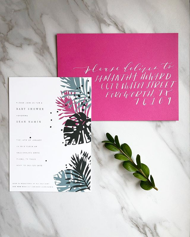 A tropical baby shower is never a bad idea! 🌴 . . . . . . . . . . . #custominvitations #babyshowerinvites #tropicalbabyshower #babyshower#moderninvitationa #calligraphyinvitations #calligraphyenvelopes #invites #invitations #stationary #papergoods  #fortworthcalligraphy #dallascalligraphy #customstationary  #dailydoseofpaper