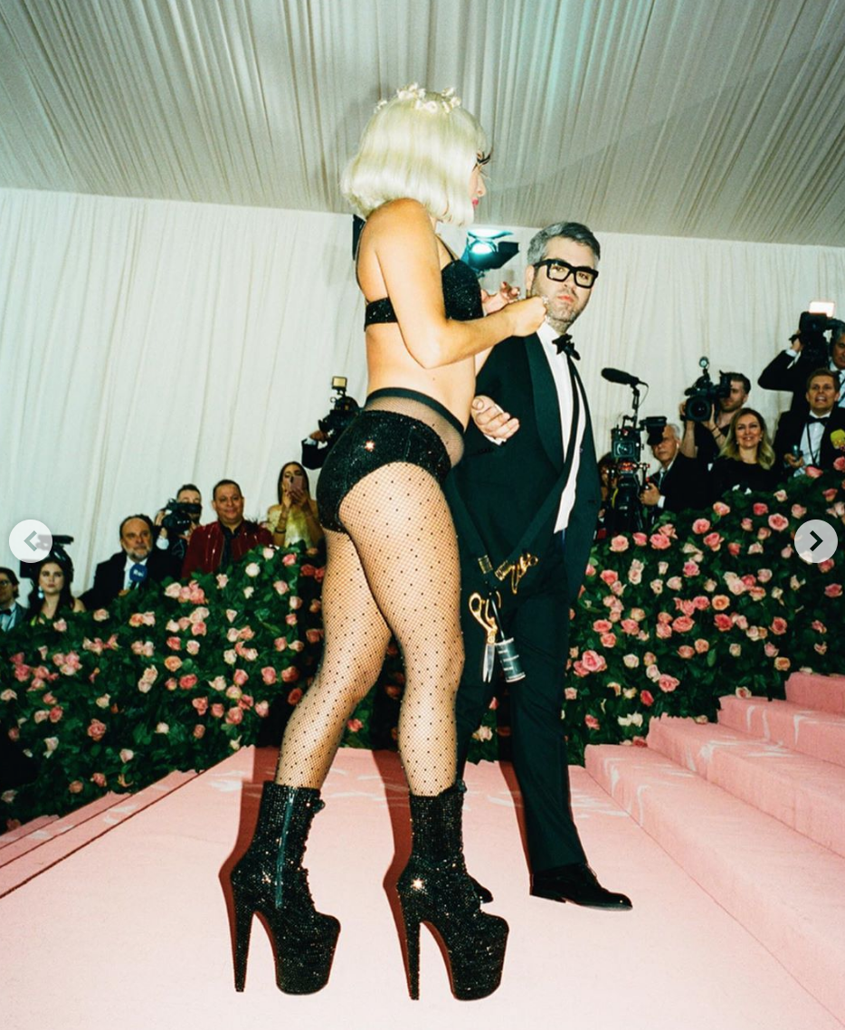 Lady Gaga in her final look of her four part attire on the MET Gala 2019 carpet. Pictured with Brandon Maxwell.