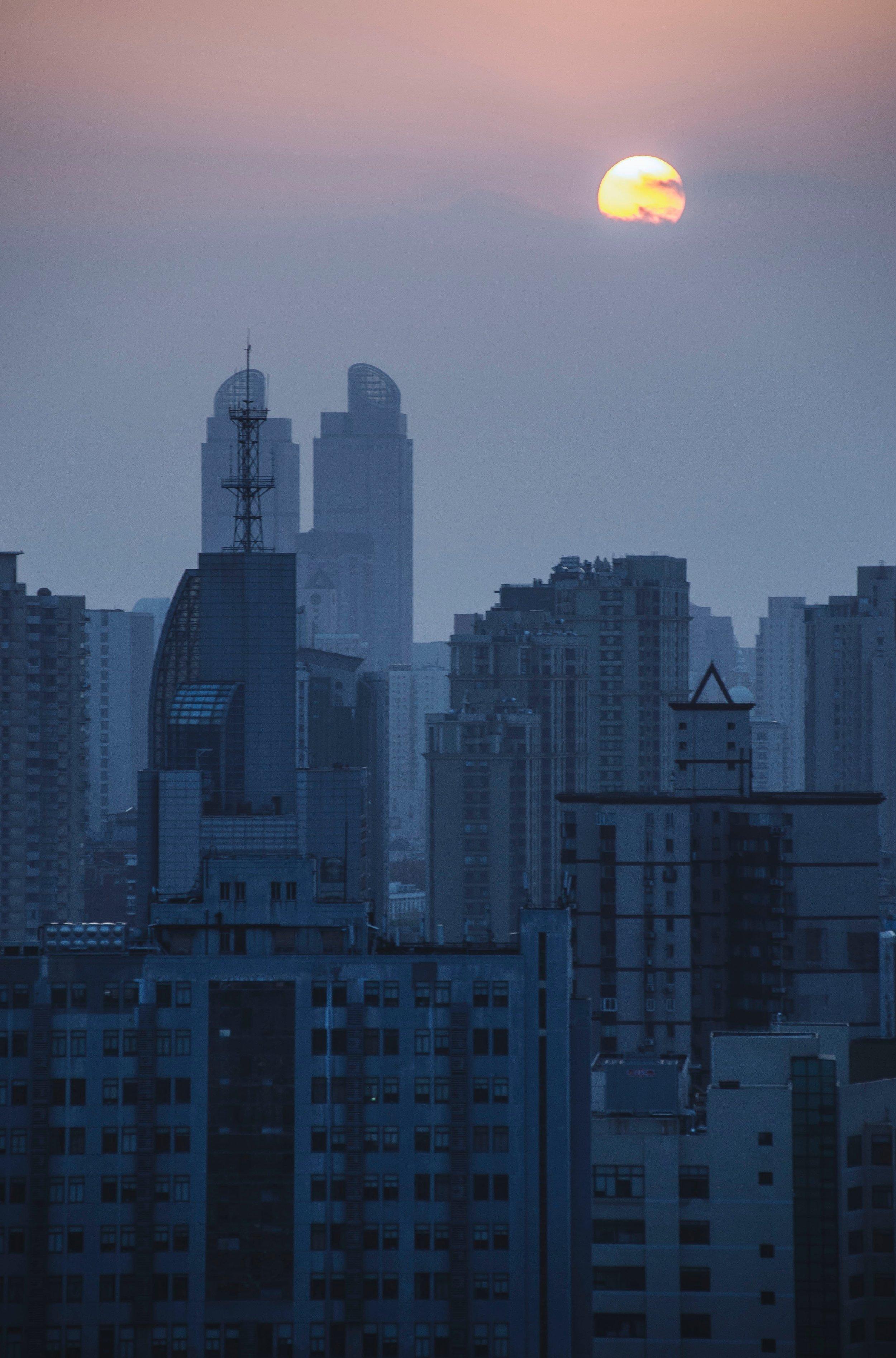 China skyline smog