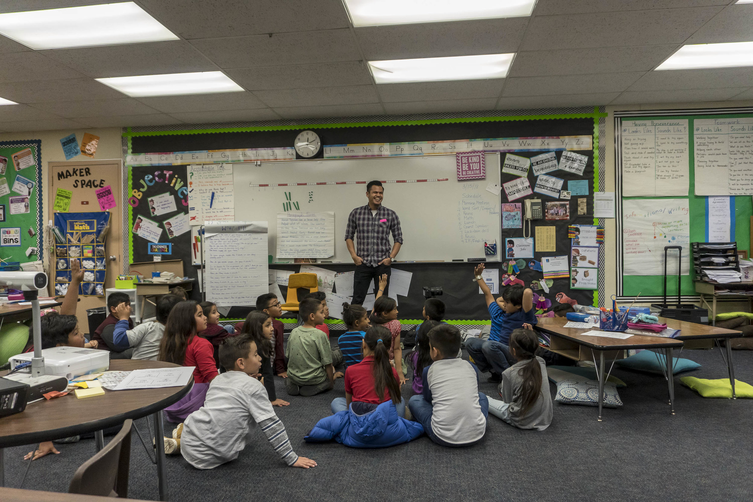 On career day, Xerxes Sangco describes to a class of 8 year olds the power of video production, creating YouTube content and the use of drones.
