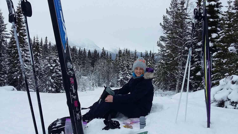 Director of Love Norway, Emma Brown skiing in Voss.