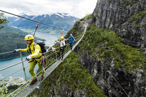 Climbing the Via Ferrata Loen Norway
