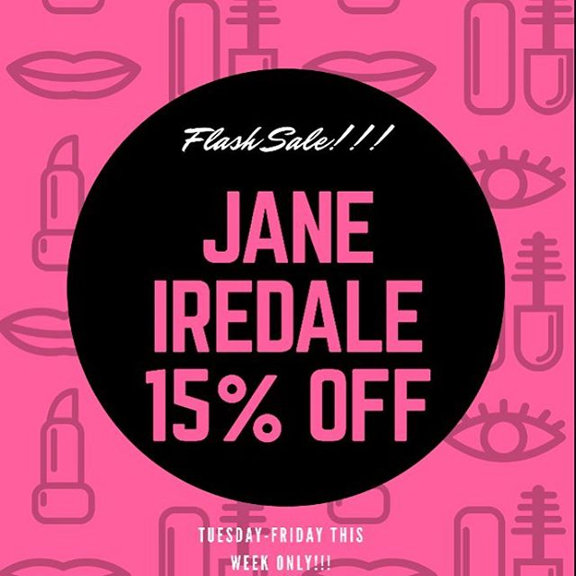 💄 We love a good Flash Sale!! All in-stock Jane Iredale is 15% off this week thru Friday!  It's a great time to stock up on best-selling basics, or treat yourself to some new colors for blush, eyeshadow, or lips 👄 We're open today 9-5:30, Wednesday 9-7, Thursday 9-5:30 and Friday 9-4.