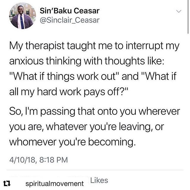 Love this so much had to #repost ❤️🧠 Mindset is everything - interrupt anxiety with gratitude - what if everything goes right? 😁