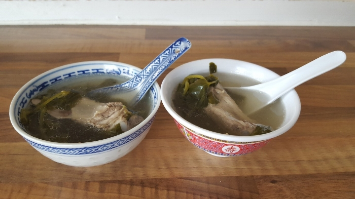 Chinese watercress and pork rib soup - a favourite of mine but not of my son