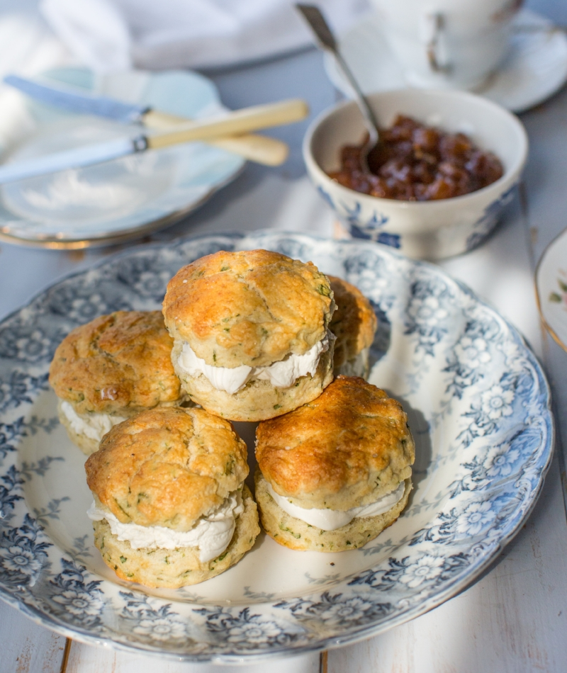 Savoury Watercress scones with Goats Cheese Mousse and Pear Chutney 2.jpg
