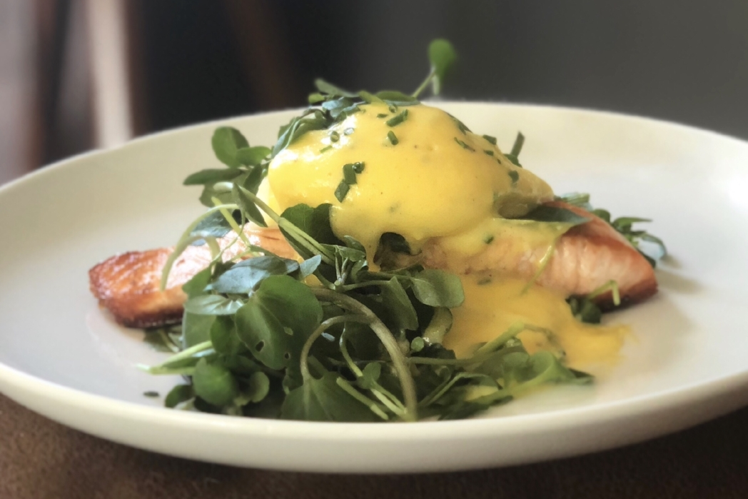 Crispy skin salmon with watercress, poached egg and hollandaise .jpg