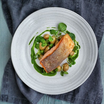 Sea trout with new potatoes and watercress sauce