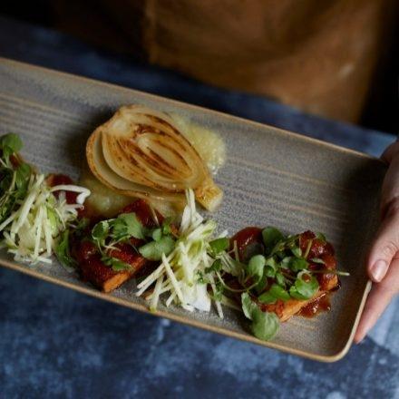 Vegan tofu with apple puree, watercress and fennel salad