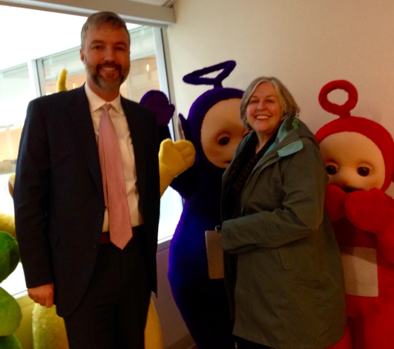 Alumni Keith Abriel worked with DHX Media when Dean Patricia Bradshaw visited and got to meet a few 'celebri-Tubbies'.