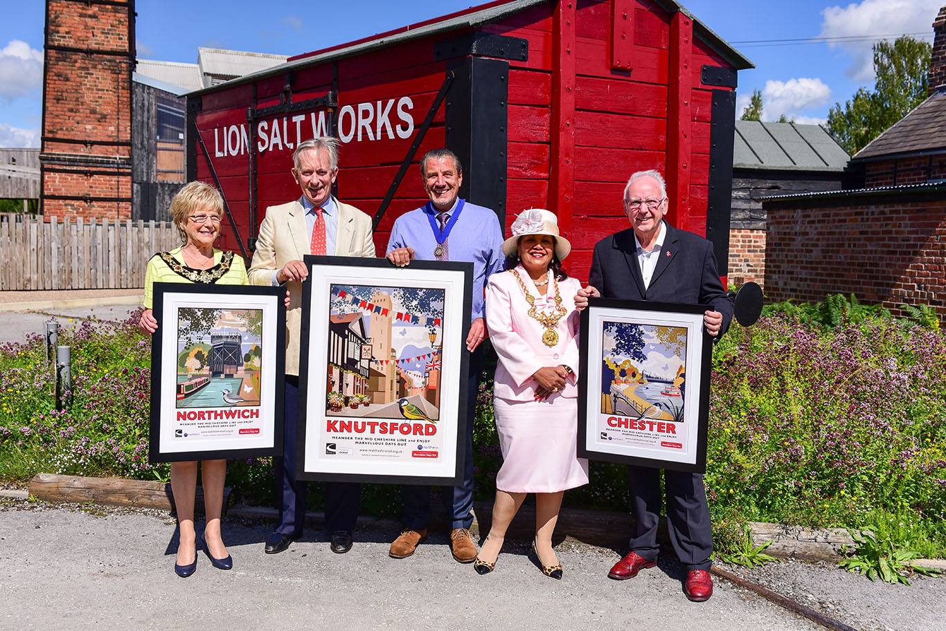 The Lord Lieutenant of Cheshire, Pete Waterman OBE and the Mayors of Northwich, Knutsford and Chester at the opening of the MDO exhibition at the Lion Salt Works Museum.jpg