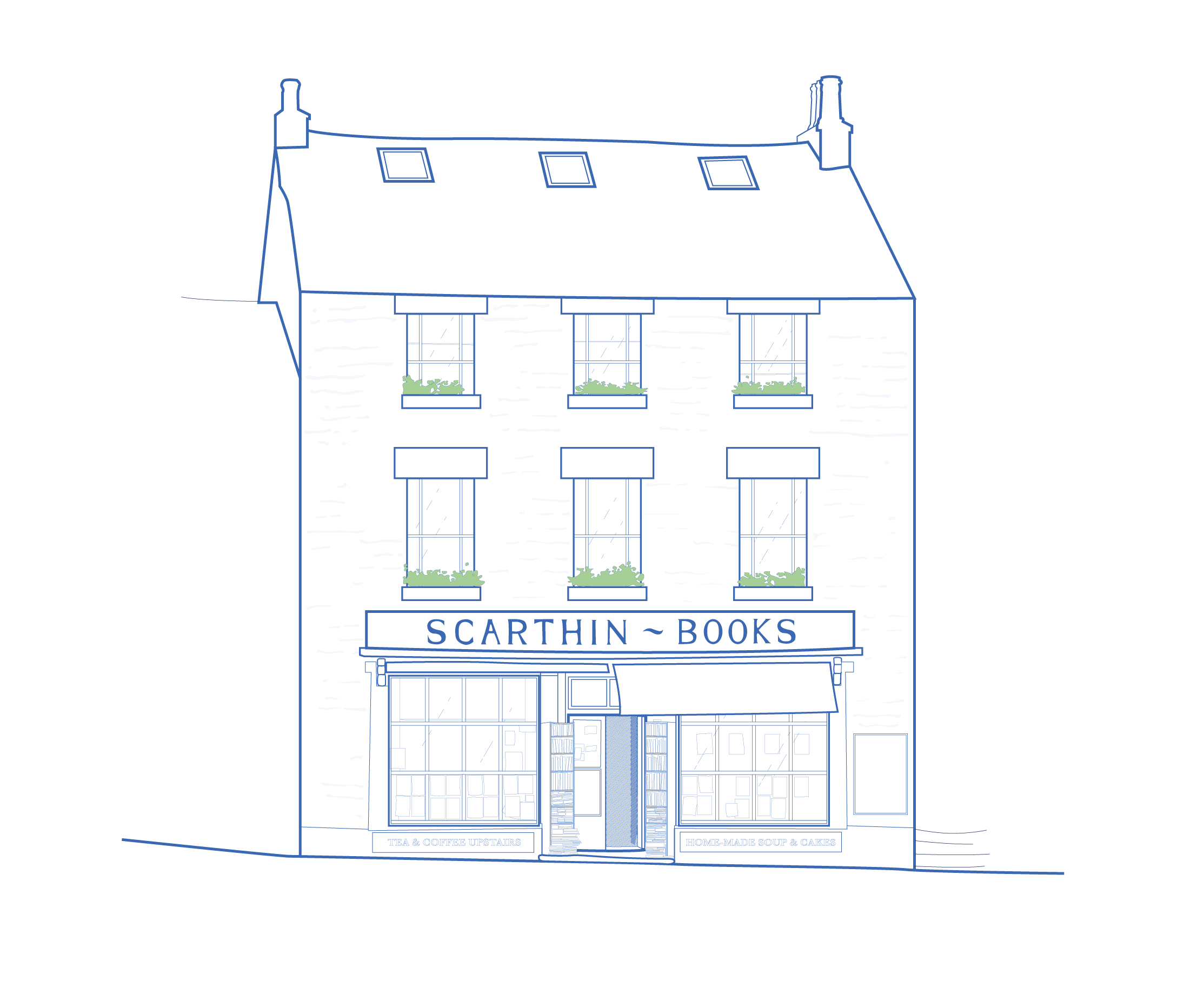 A blue and white architectural illustration of Scarthin Books house in Cromford, Derbyshire.