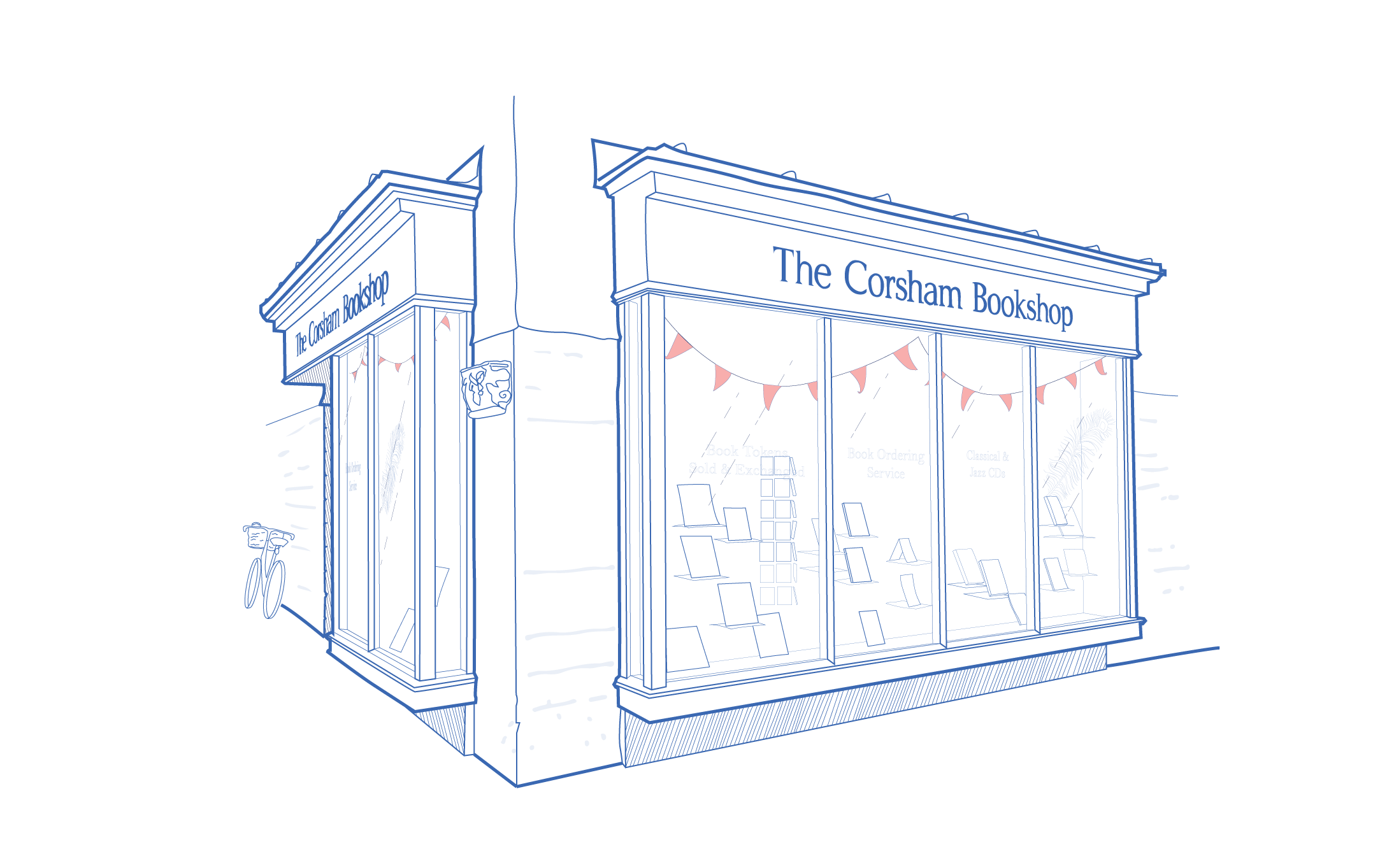 A blue and white architectural illustration of The Corsham Bookshop in Corsham, Wiltshire.