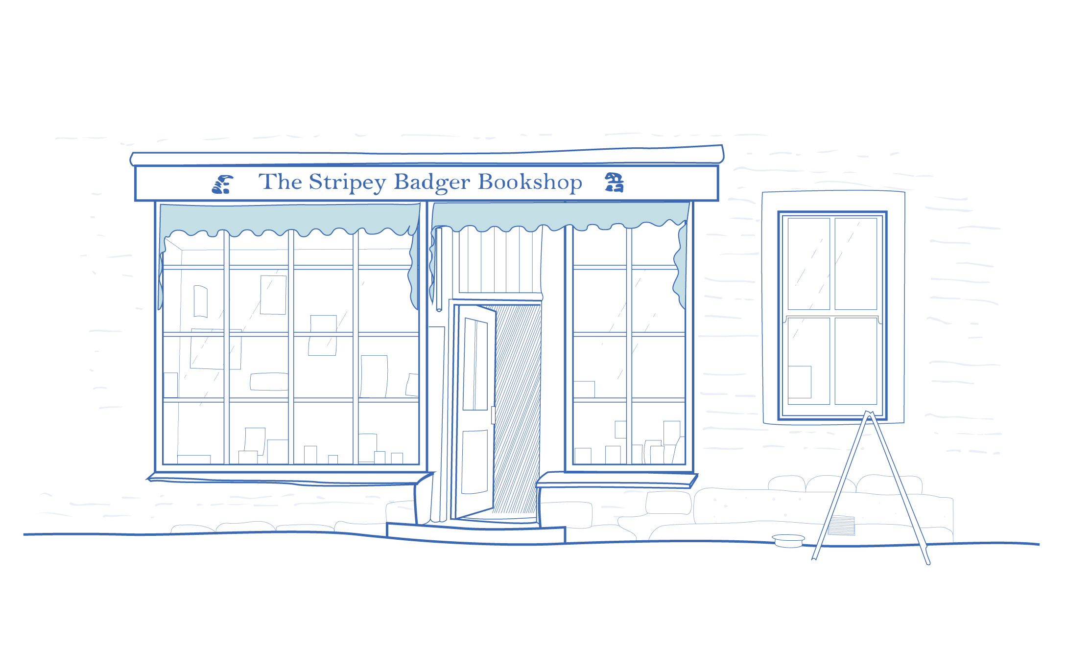 A blue and white architectural illustration of The Stripey Badger Bookshop in Grassington, North Yorkshire.
