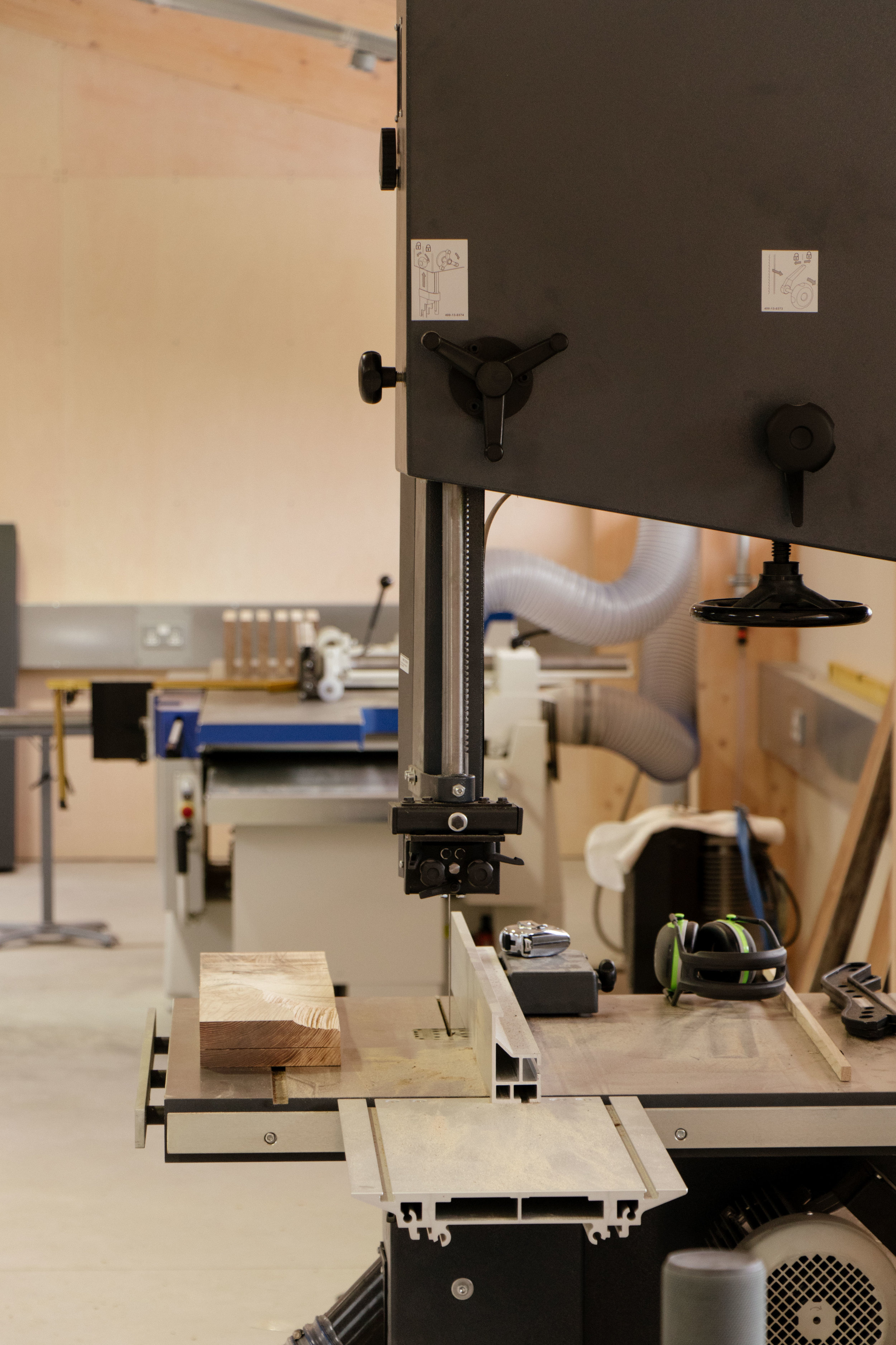 Machinery and power tools inside James Smith Designs workshop at Argal Home Farm.