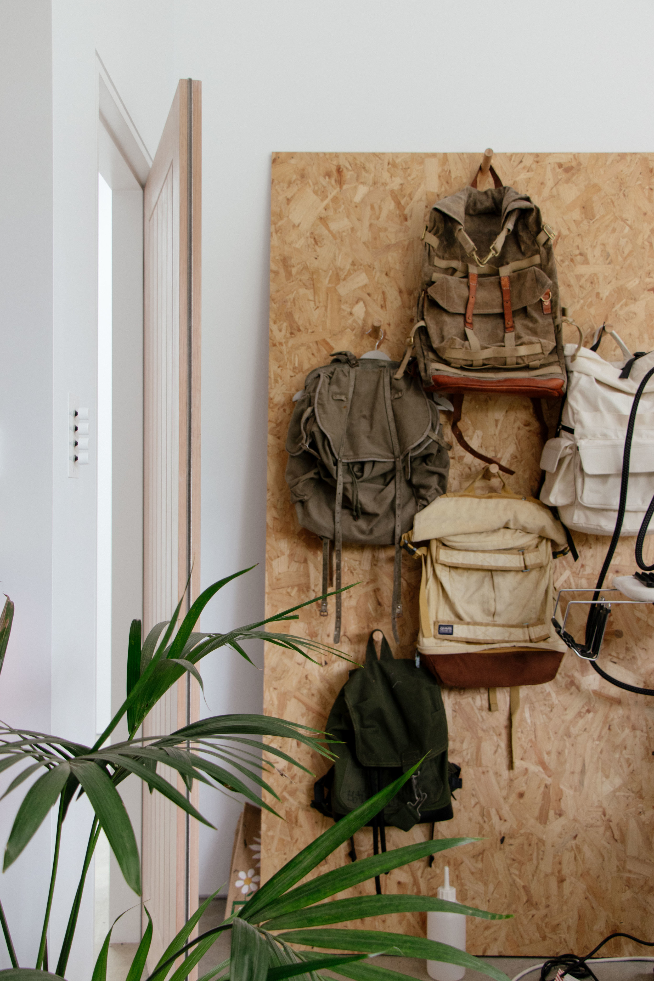 Francli Craftwear's collection of vintage and prototype rucksacks at Argal Home Farm.