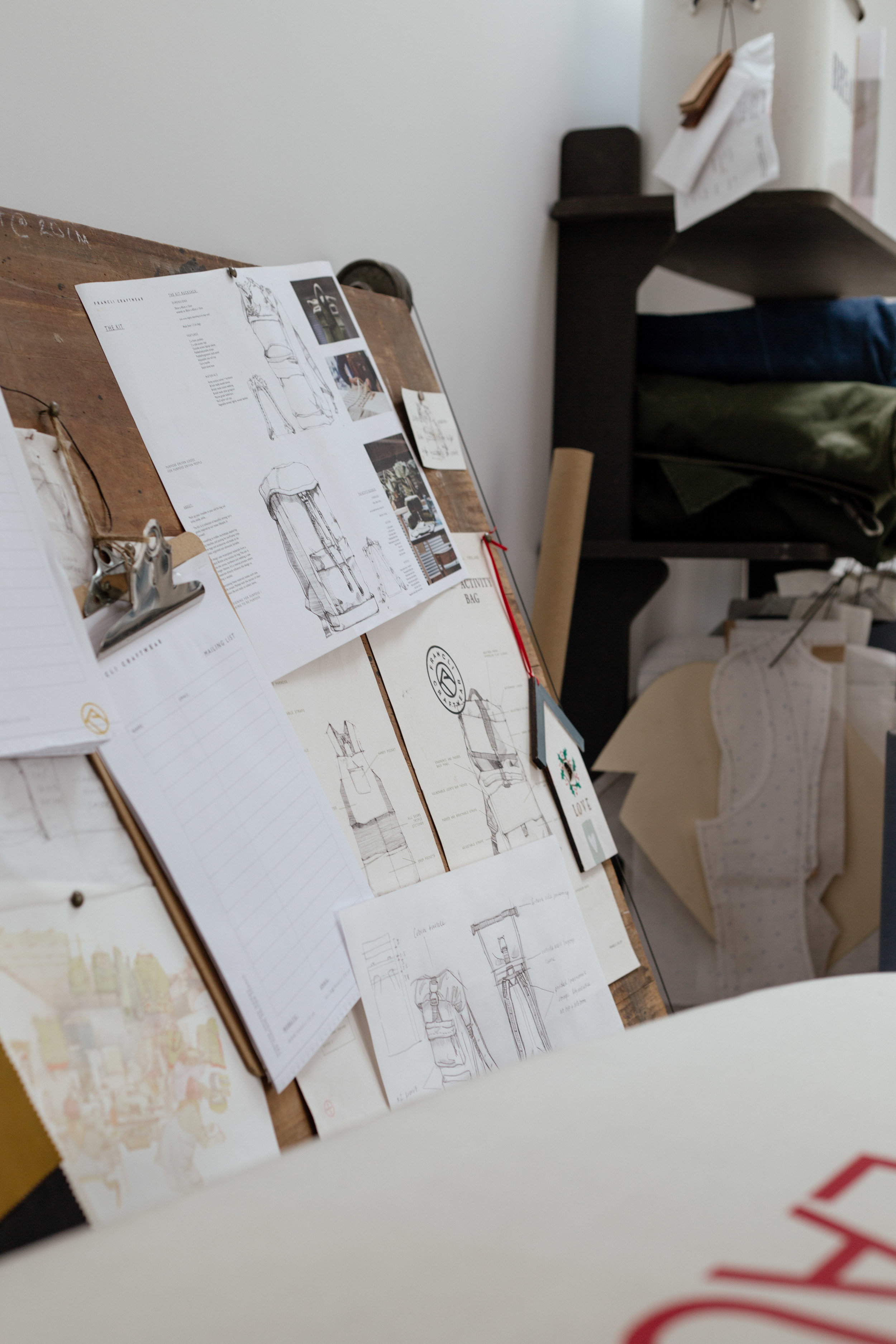 Sketches pinned to a drafting table in Francli Craftwear's workshop at Argal Home Farm.