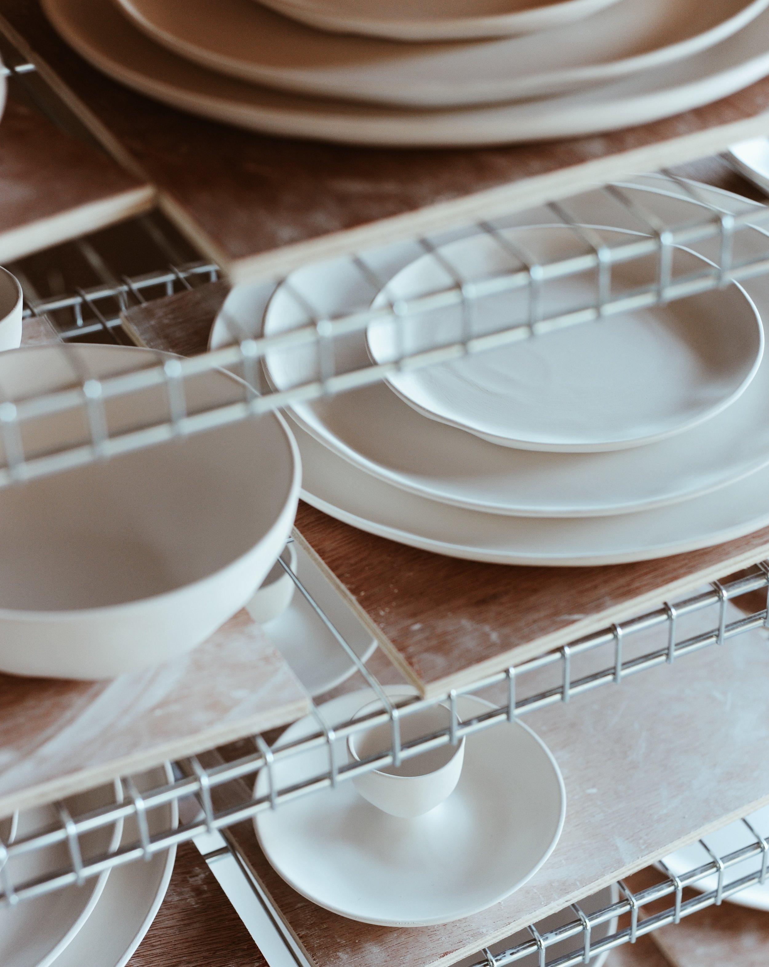 Feldspar fine bone china, bisqueware on shelves
