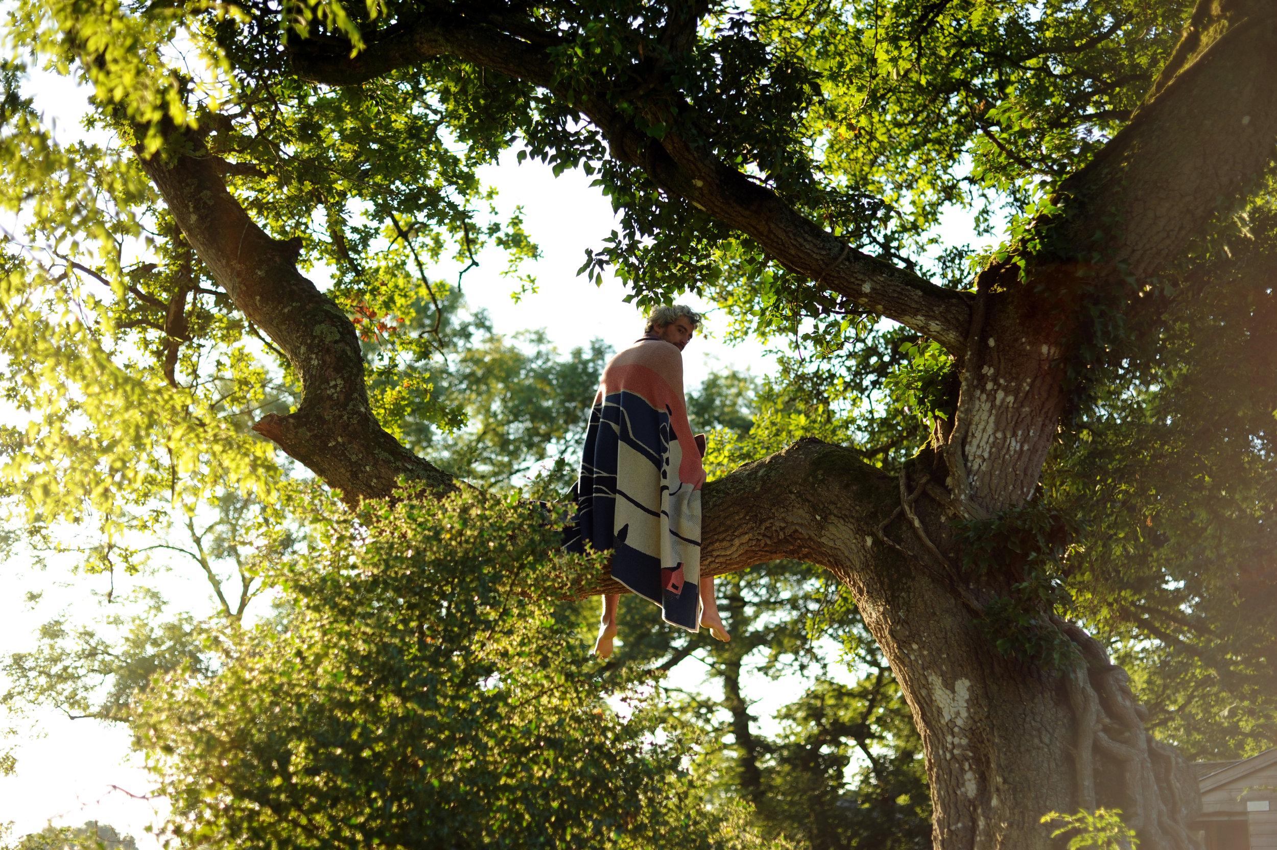 Feldspar textiles, Jeremy up a tree with indigo moor blanket