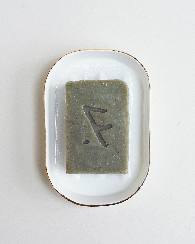Feldspar, cold-press 'kelp' soap bar in gold soap dish