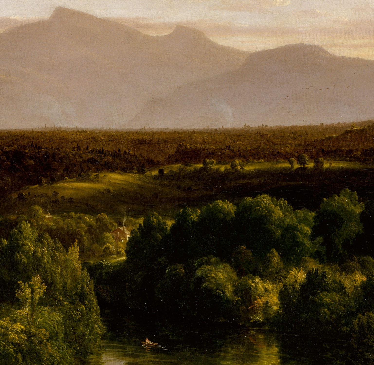 Detail from 'View on the Catskill — Early Autumn, 1836-37.' Thomas Cole, British-American painter. Courtesy of The Metropolitan Museum of Art, New York, USA.