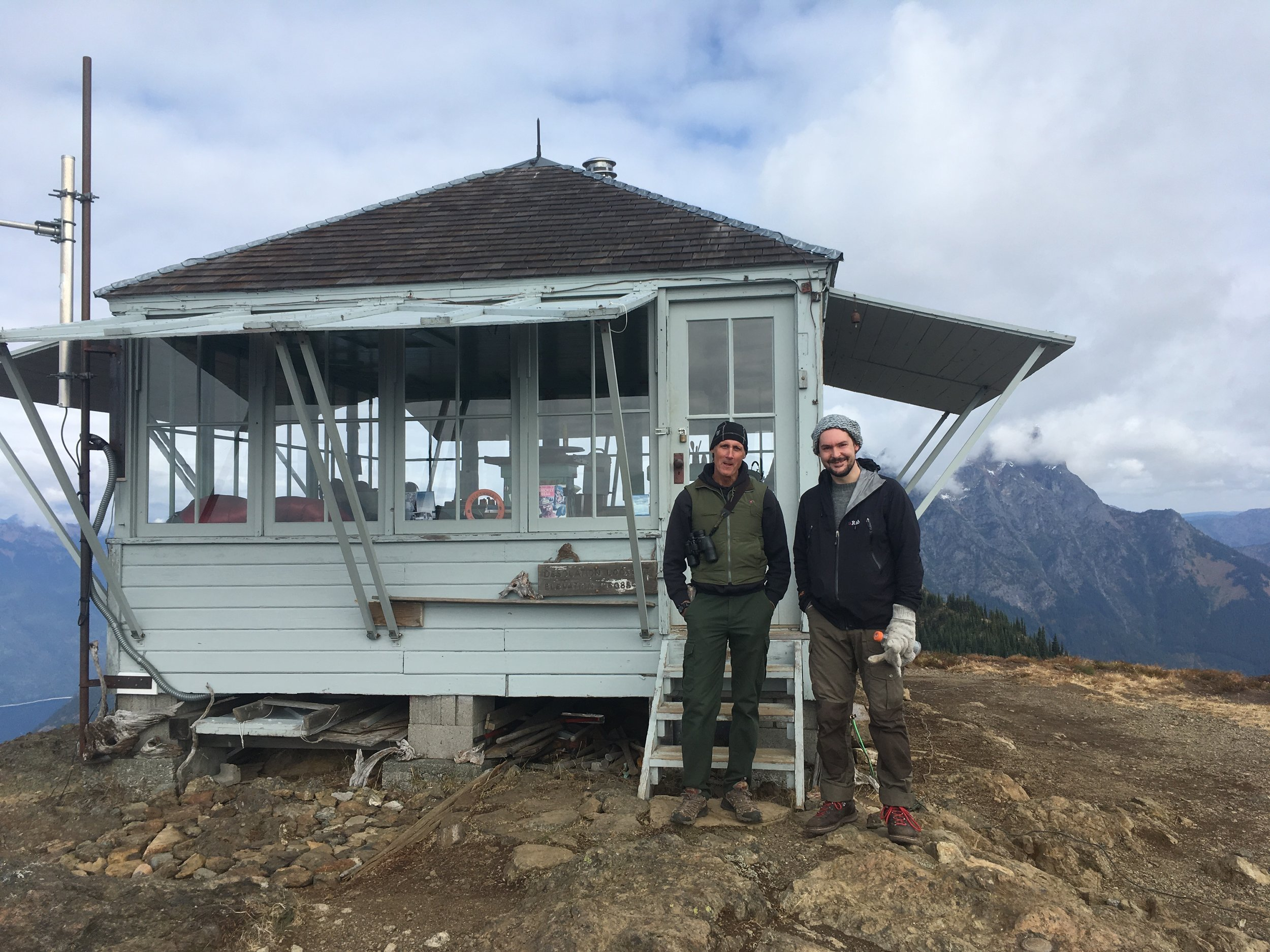 Jim Henterly and Dan Richards, Desolation Peak Lookout, WA, USA. Photograph: Colin Cady