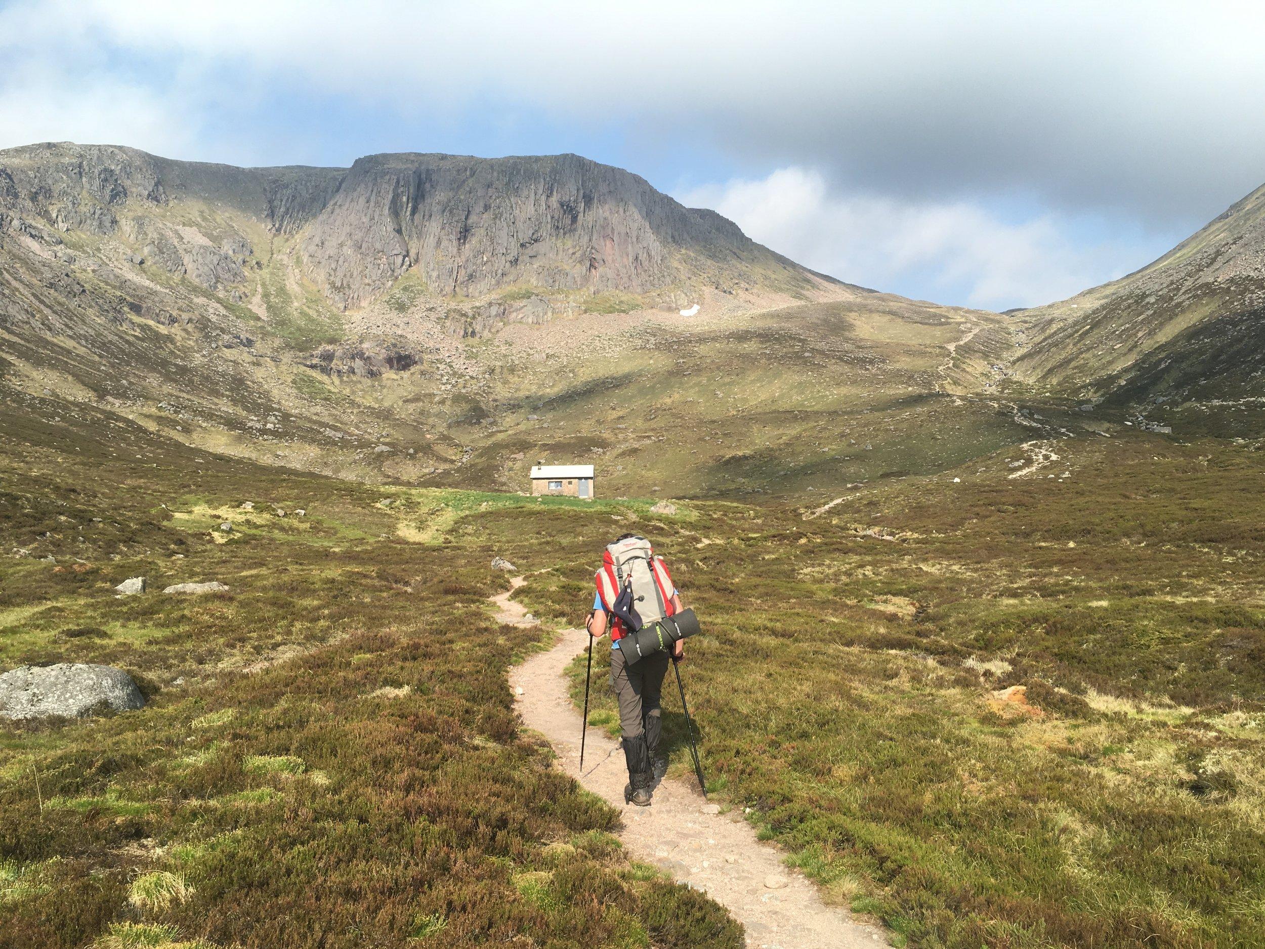 Steve King approaching Hutchison Memorial Hut, Cairngorm Mountains, Scotland. Photograph: Dan Richards