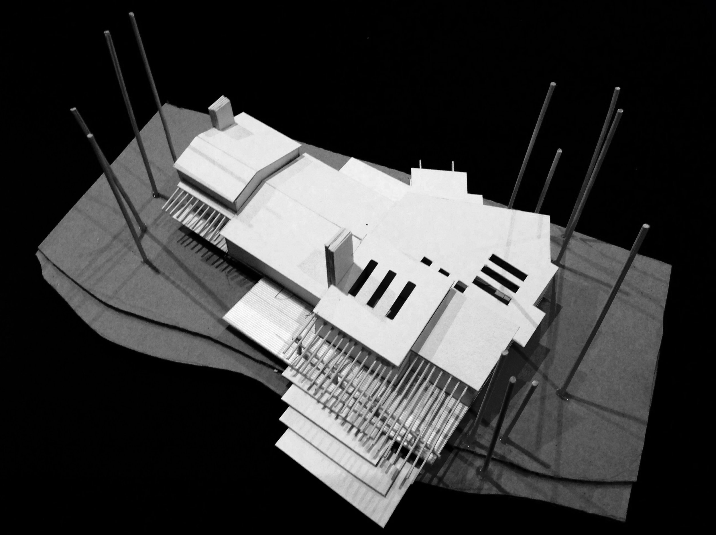Option 1 Concept model north east arial view with high volume spaces
